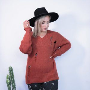 Sweaters - Rust Ripped Knit Sweater